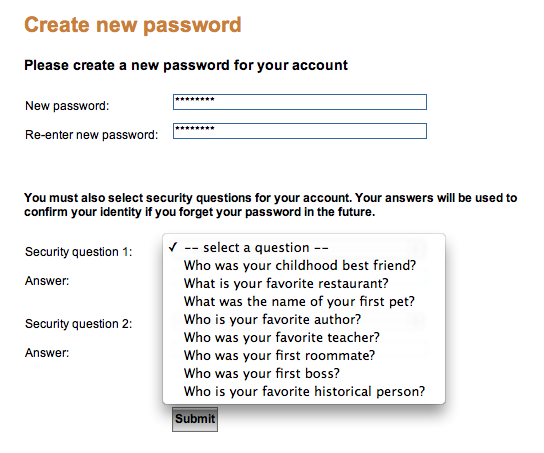 PayPal™'s poor selection of security questions